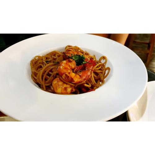 prawn aglio olio